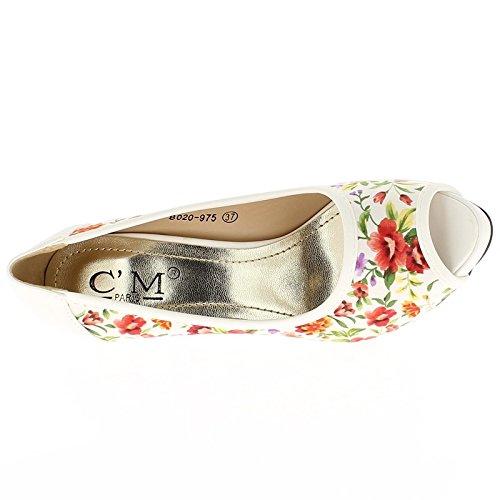 Escarpins bouts ouverts blancs fleuris à talons de 10cm et plateau de 2.5 cm