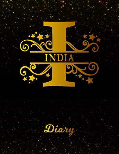 India Diary: Letter I Personalized First Name Personal Writing Journal | Black Gold Glittery Space Effect Cover | Daily Diaries for Journalists & ... Taking | Write about your Life & Interests (Best Gift For Mother In Law India)