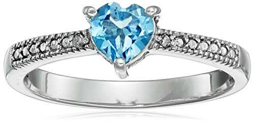 Blue Topaz and Diamond Accent Heart Ring in - December Birthstone Promise Rings