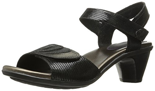 Aravon Women's Medici Heeled Sandal, Black, 8.5 B US