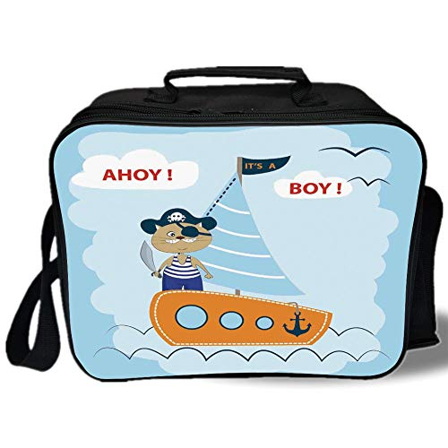 Insulated Lunch Bag,Kids,Ahoy Its a Boy Themed Print Pirate Cat Hat Sword Sailboat Nautical Anchor Ship Porthole Decorative,for Work/School/Picnic, Grey
