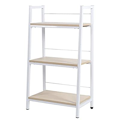 KELLIGO Bookcase Storage Ladder Shelf Rack CD Display 3-Tier for Living Room Office Home (white) - Simple design and functional. Material: Fireproof board and steel tubes with powder-coated finish. Size: 23.62'' ×10.43'' ×41.93'' - living-room-furniture, living-room, bookcases-bookshelves - 41WMkIH5XWL. SS400  -