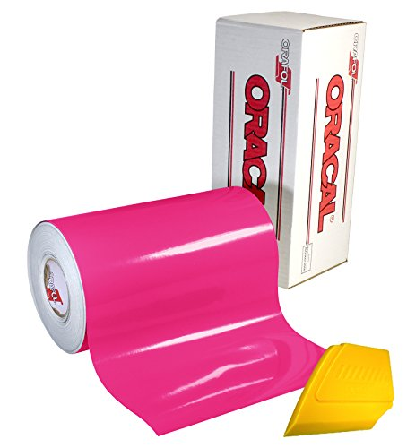 ORACAL 651 Multi-Colored Vinyl Solvent-Based Adhesive-Backed Calendared Wrap Decals w/Yellow Multi-Purpose Squeegee (12 x 5ft, Pink)