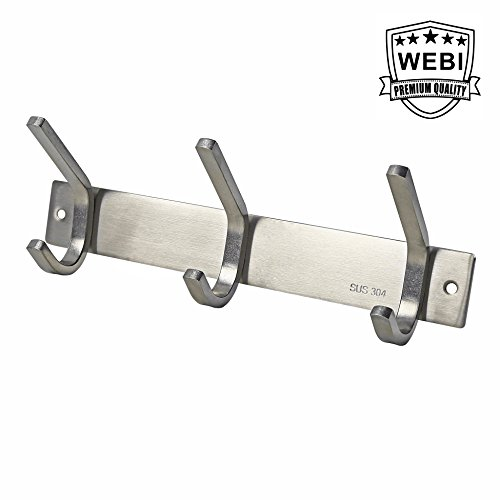 WEBI Sturdy Stainless Steel 304 Hook Rail Coat Rack with 3 Hooks, Great Home Storage & Organization For Bedroom, Bathroom, Foyer, Hallway, Brushed Finish (Hooks Sturdy)
