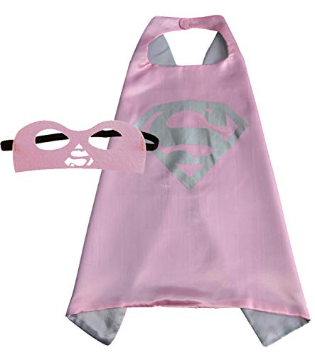 Girls Super Hero Cape and Mask Dress Up Costume (Supergirl Pink) for $<!--$19.99-->