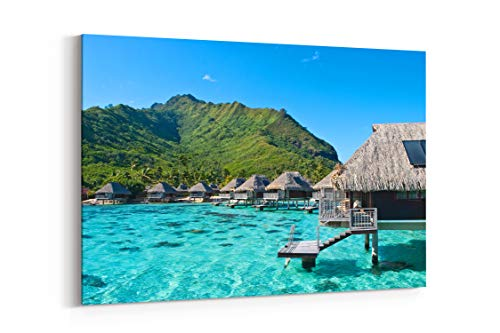 - Ocean Bungalovy Hotel Exotic Moorea French Polynesia - Canvas Wall Art Gallery Wrapped 12