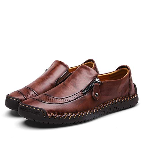 Mens Driving Casual Shoes Zipper Slip On Loafers Light-Weight Soft Comfortable Oxford Walking Shoes Dark Brown