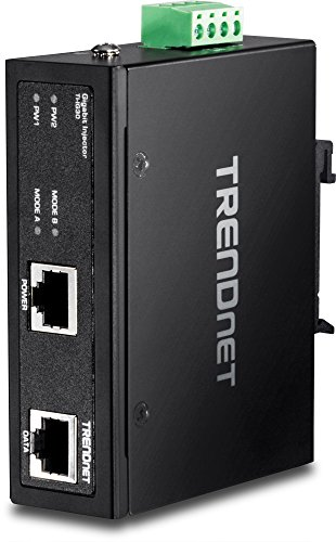 TRENDnet Hardened Industrial Gigabit PoE+ Injector, DIN-Rail, Wall Mount, IP30 Rated Housing, DIN-rail & Wall Mounts Included, TI-IG30