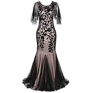 369356d721 PrettyGuide Women s Evening Dress 1920s Sequin Deco Mermaid Hem Maxi Long  Ball Gown XL Black Beige
