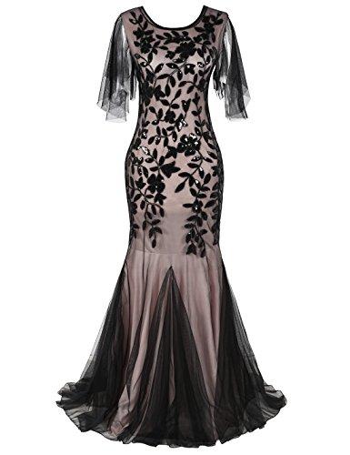 PrettyGuide Women's Evening Dress 1920s Sequin Deco Mermaid Hem Maxi Long Ball Gown XL Black Beige