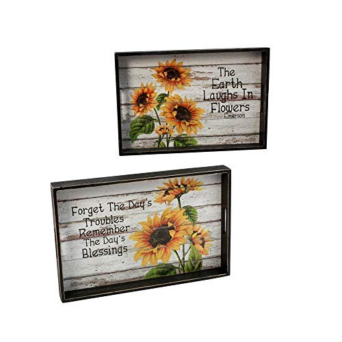 (GIL 2476480 S/2 Sunflower Serving Trays Spring, 18InL x 11.6InW x 2InH, Multicolor)