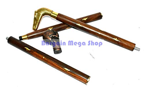 (Solid Brass Horse Head Handle Vintage Designer Wooden Walking Stick Cane Gift)