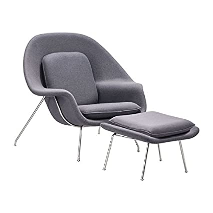 Attractive Zuo Modern Nursery Chair And Ottoman, Light Gray