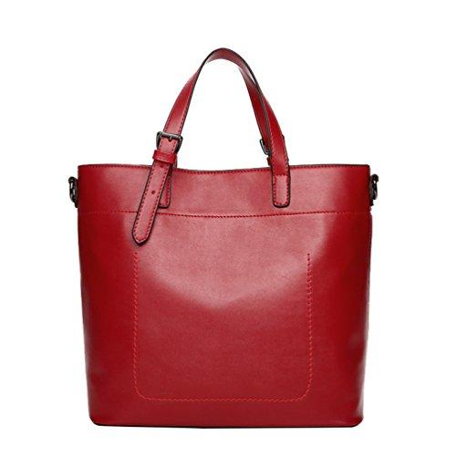 Borsa Borsa Ragazze per Pelle Bag Spalla Casual Grande Capacita da Donna Mano a YAANCUN Rosso in Stile Hobo con a Morbida Zainetto w4B76