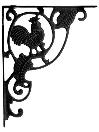 (House of Antique Hardware R-010SE-J-BKT-43 Rooster Cast Iron Shelf Bracket in Matte Black)