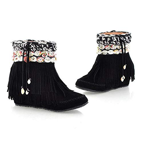 Boots Tube Short Suede Boots Fashion Heel Flat Snow Womens Boots Fringed Boots Black 6qf5wHtax