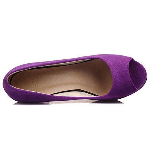 2 Heel Summer Solid Women Purple Peep Coolcept Toe Shoes High cnWzBAB