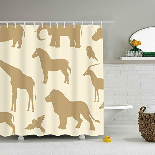 (Bathroom Shower Curtain Cute Pattern with African Animal Silhouettes Bath Curtain)
