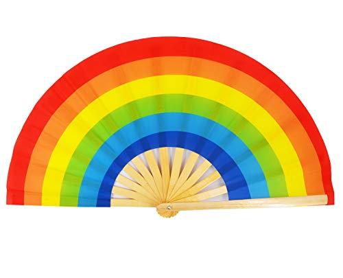 (Amajiji Large Folding Fan, Chinease/Japanese Bamboo and Nylon-Cloth Folding Hand Fan, Hand Folding Fans for Women/Men, Hand Fan Festival Fan Gift Fan Craft Fan Folding Fan Dance Fan (Rainbow))