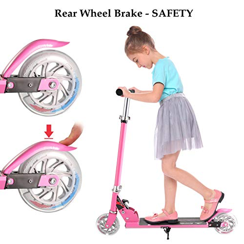 Hikole Kids Scooter for Boys Girls Age 3-8   2 Wheel Foldable Adjustable Mini Kick Scooter, Birthday Present for Children Age from 4 to 10 (Pink)