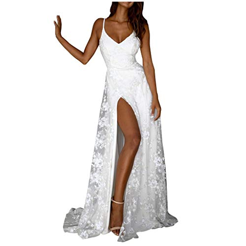 (Copercn Women's Ladies Lace Embroidered Chiffon Tulle Low Chest Wide V-Neck Sleeveless Strappy High Split Backless Slim Maxi Dresses Evening Party Long Dresses Prom Gowns Sexy Elegant Wedding Dresses)