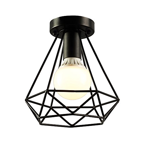 KOONTING Vintage Industrial Rustic Flush Mount Ceiling Light, Metal Pendant Lighting Lamp Fixture for (Rustic Ceiling Fixtures)
