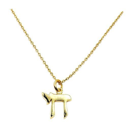 Solid Sterling Silver Gold Vermeil Chai (Life) Symbol Pendant (Vermeil Pendant)