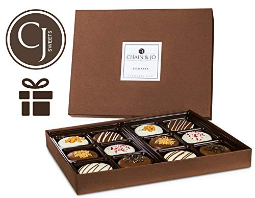 Chain & Jo Sweets Father's Day Chocolate Covered Cookies, Gift Box Assortment,Dairy Chocolate,6 Toppings,12 Cookies Gift Basket, Fathers Day Gift For Best Dad, Grandfather, Husband, Kosher - Biscotti Chocolate Chip