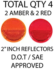 "[ALL STAR TRUCK PARTS] Qty 4 (2 Red/2 Amber) - 2"" Inch Round Reflector Bike,Trailer, Truck, Boat, Mailbox with Super Strong Adhesive DOT/SAE Approved"