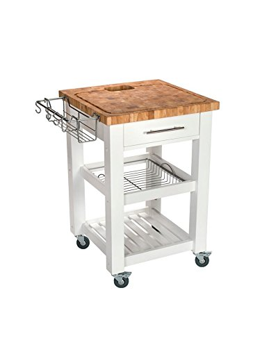Chris Chris Rolling Kitchen Island – Portable Food Prep Table with Durable Cutting Surface, Juice Groove and Collection Pan – Includes Storage Drawer, Spice Rack, 2 Shelves, White