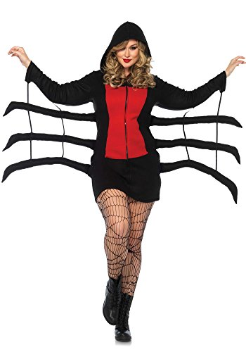 Leg Avenue Women's Plus Size Widow Cozy, Black/Red, 3X-4X
