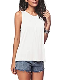 Women's Summer Sleeveless Pleated Back Closure Casual...