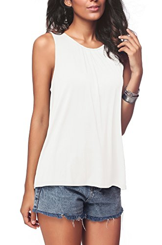 iGENJUN Women's Summer Sleeveless Pleated Back Closure Casual Tank Tops,White,M