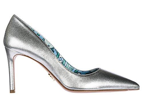 Prada Decolletes decoltè Scarpe Donna con Tacco Pelle Argento