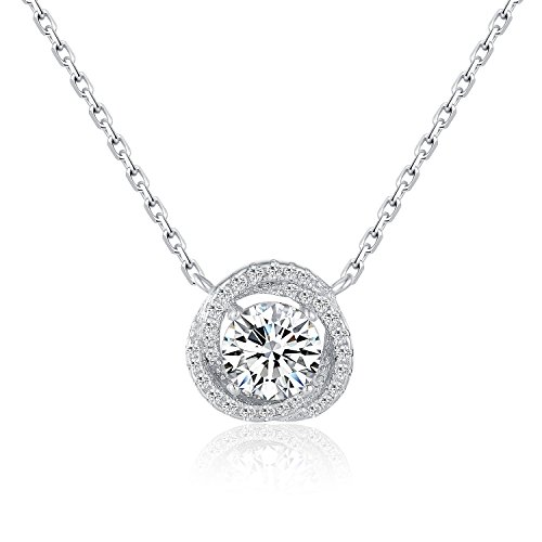 (It's a circle Rhodium Plated Sterling Silver Round Solitaire Cubic Zirconia CZ Halo Pendant Necklace Gift (Silver)