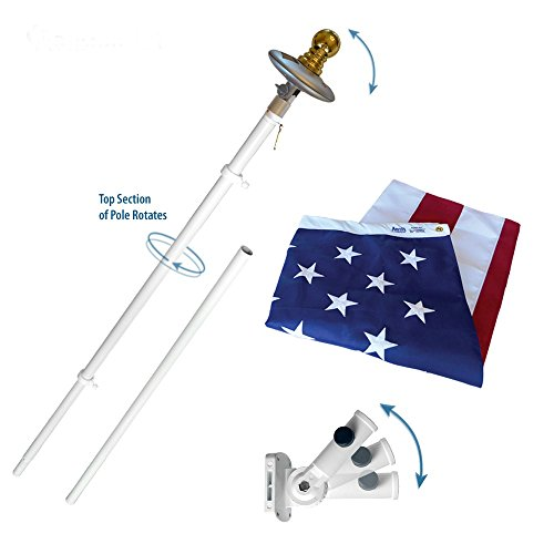 American Flag and Flagpole Set - 6 ft. Aluminum Spinner Pole that Rotates 360 Degrees, Includes a Solar Light and US Flag 3x5 ft. SolarGuard Nylon by Annin Flagmakers, Mansion Kit Model 42914