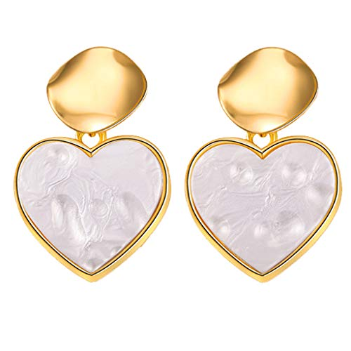 Lethez Women's Earrings, Simple Boho Irregular Shape Love Heart Dangle Earrings Jewelry (A)