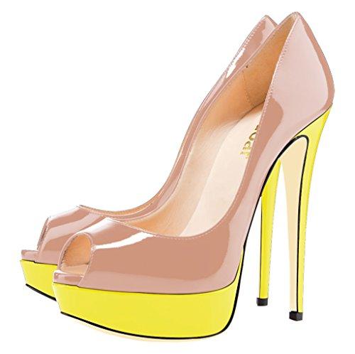 Guoar Kvinna Multi Stilett Stor Storlek Höga Klackar Peep Toe Plattform Patentpumpar För Bröllopsfestklänning Nude-gul