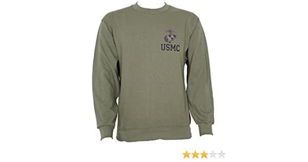 5cf8fcb95 Amazon.com  USMC Army Sweatshirt Olive Drab Green Made with USMC Approved  Materials (Large)  Clothing
