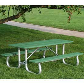 8' Galvanized Frame Picnic Table, Recycled Plastic, Green