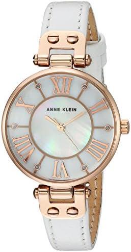 Anne Klein Women s Glitter Accented Leather Strap Watch