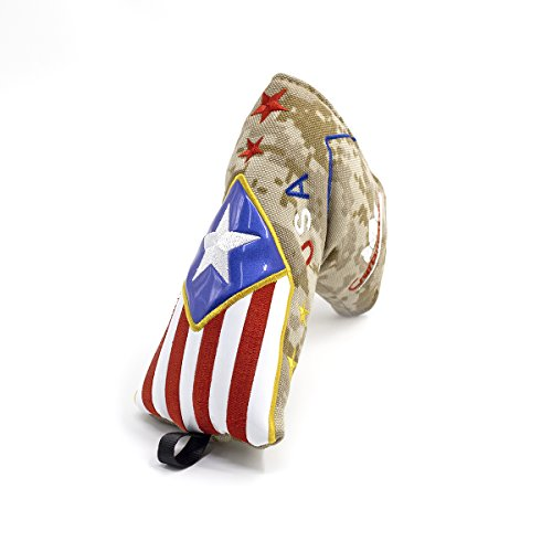 Craftsman Golf Camouflage USA American Flag Blade Putter Cover for Ping Odyssey Taylormade Magnetic Closure