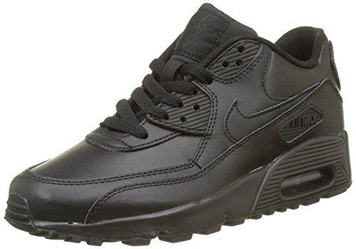 NIKE Boy's Air Max 90 Leather Fashion Shoe Black/Black 5Y (Nike Air Max 90 Fashion)