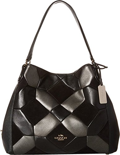 Coach Edie Shoulder Bag 31 in Black Patchwork Leather
