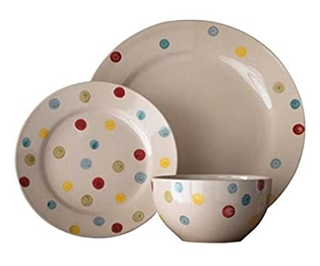 Hand Painted Spotty Stoneware 12 Piece Dinner Set Awesome Design  sc 1 st  Amazon UK & Hand Painted Spotty Stoneware 12 Piece Dinner Set Awesome Design ...