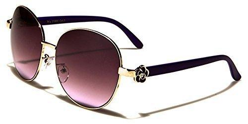 VG Designer Rond Mode Rétro Femmes Lunettes de soleil / SPORT AU VOLANT / COMPLET UV400 Protection / GRATUIT vibrant Hutt microfibre poche inclus OR/violet