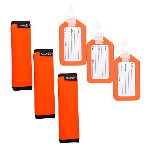- Cosmos ® 3 PCS Fluorescence Orange Comfort Neoprene Handle Wraps/Grip / Identifier for Travel Bag Luggage Suitcase + 3 PCS Orange Travel Accessories Luggage Tag Identifier