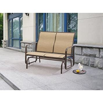 Generic Mainstays Wesley Creek Outdoor Patio Furniture 2 Seat Sling Glider  Powder Coated Steel