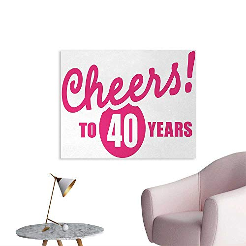 Tudouhoho 40th Birthday Poster Print Cheerful Happy Mood Greeting Icon with Hand Writing in Hot Pink Color Photo Wall Paper Hot Pink White W32 xL24 ()