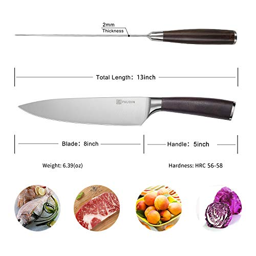 PAUDIN Kitchen Knife, 8 inch Chef Knife N2 German Stainless Steel knife with Sharp Edge and Ergonomic Wood Handle, 5Cr15Mov kitchen knife for Pro & Home Chefs by PAUDIN (Image #6)
